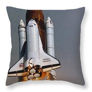 Shuttle Lift-off Throw Pillow by Science Source