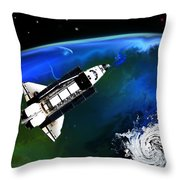 Shuttle On Orbit Throw Pillow