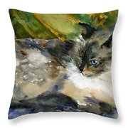 Siamese Basking Throw Pillow