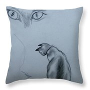 Siamese Cat Study Throw Pillow