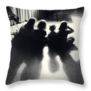 Siblings Watch Television Throw Pillow