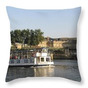 Sightseeing Boat On River Seine. Paris Throw Pillow