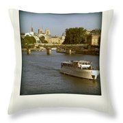 Sightseeings On The River Seine In Paris Throw Pillow