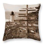 Sign At Point Montara Lighthouse - Sepia Throw Pillow