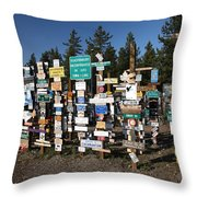 Sign Posts Forest In Watson Lake Yukon Throw Pillow