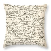 Signatures Attached To The American Declaration Of Independence Of 1776 Throw Pillow
