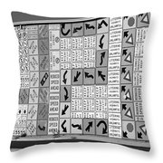 Signs And More Signs Black And White Throw Pillow
