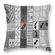 Signs Black And White Throw Pillow