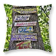 Signs On A Tree Throw Pillow