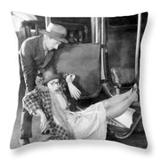 Silent Film Still: Accidents Throw Pillow