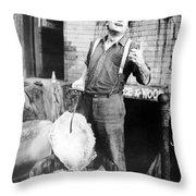 Silent Film Still: Iceman Throw Pillow
