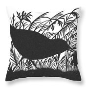 Silhouette: Bird & Insect Throw Pillow