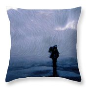 Silhouette In The Fog Throw Pillow