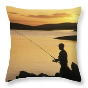 Silhouette Of A Fisherman Fishing On Throw Pillow