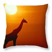 Silhouette Of A Giraffe At Sunrise Throw Pillow