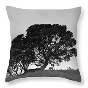Silhouette Of A Tree With Sheep Throw Pillow