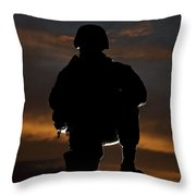 Silhouette Of A U.s. Marine In Uniform Throw Pillow