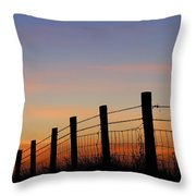 Silhouette Of Barbed Wire Fence Throw Pillow