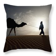 Silhouette Of Berber Leading Camel Throw Pillow