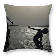 Silhouette Of Boys Fishing Throw Pillow