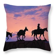 Silhouette Of Donkey Train Statue Throw Pillow