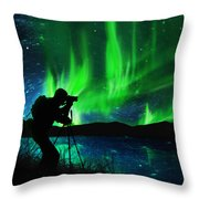 Silhouette Of Photographer Shooting Stars Throw Pillow by Setsiri Silapasuwanchai