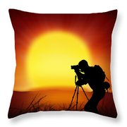 Silhouette Of Photographer With Big Sun  Throw Pillow