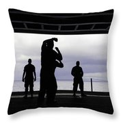 Silhouette Of Sailors In The Hangar Bay Throw Pillow