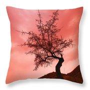 Silhouette Of Shrub Tree Throw Pillow