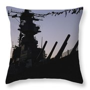 Silhouette Of The Battleship U.s.s Throw Pillow