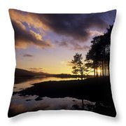Silhouette Of Trees On The Riverbank Throw Pillow