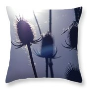 Silhouette Of Weeds Throw Pillow
