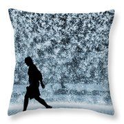 Silhouette Over Water Throw Pillow