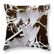 Silhouetted Blossoms Throw Pillow