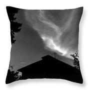 Silhouetted House And Clouds Throw Pillow