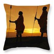 Silhouetted Laikipia Masai Guides Throw Pillow