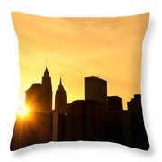 Silhouetted Manhattan  Throw Pillow