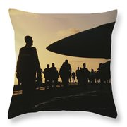 Silhouetted Military Personnel Throw Pillow