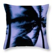 Silhouetted Palm Trees Blow In The Wind Throw Pillow