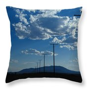 Silhouetted Telephone Poles Under Puffy Throw Pillow
