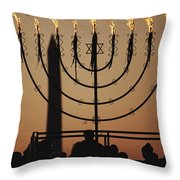Silhouetted Worshippers Stand Throw Pillow