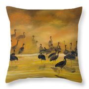 Silhouettes In The Mist Throw Pillow
