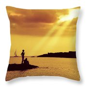 Silhouettes On The Beach Throw Pillow