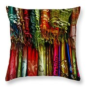 Silk Dresses In Vietnam Throw Pillow