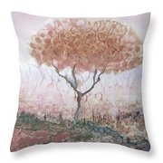 Silk Tree In Brown And Purple  Throw Pillow