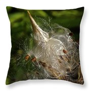 Silky Milkweed Throw Pillow