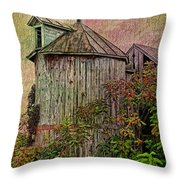 Silo In Overgrowth Throw Pillow