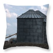 Silos And Augers Throw Pillow