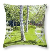 Silver Birches Throw Pillow by Lucy Willis
