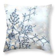Silver Blue Snowflake  Throw Pillow